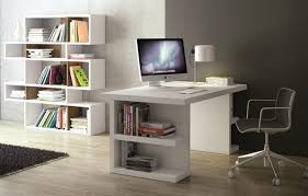 teme multi office table with side storage in pure white finish