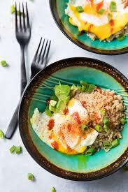 easy fried egg rice avocado bowl