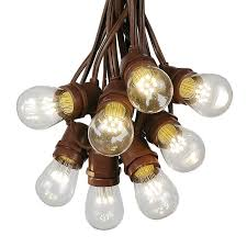 25 led s14 warm white commercial grade light string set on 37 5 of brown wire