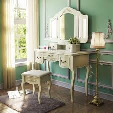 com tribesigns french vintage ivory white vanity dressing table set makeup desk with stool mirror bedroom kitchen dining