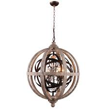 orlando globe chandelier wood metal crystal pendant lamp receiling lights