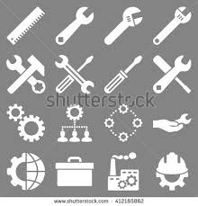 tools icon white. options and service tools icon set. glyph style is flat symbols, white color,