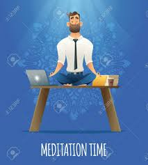 meditation businessman office. Businessman Relaxing In Lotus Position On Table With Computer At The Desk. Cartoon Style Man Meditation Office O