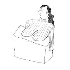 乳がカウンターに乗っかっちゃってる受付の女の無料イラスト ゆるい