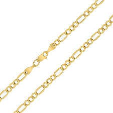 Light Figaro Chain 14k Yellow Gold 3 5mm Diamond Cut Oval Light Figaro Chain With Lobster Clasp 20 Inch
