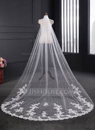 One Tier Lace Applique Edge Cathedral Bridal Veils With Applique