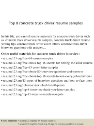 truck driving resumes top 8 concrete truck driver resume samples