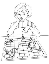 Small Picture Girl Playing Chess coloring page Free Printable Coloring Pages