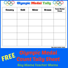 Olympic Gold Medal Chart Teacher Mama Free Olympic Medal Count Tally Sheet Olympic