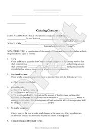 Catering Contract Agreement Awesome Catering Contract For Cooking Meal Preparation Business