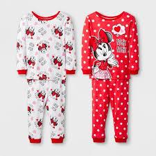 Baby Girls\u0027 Disney Mickey Mouse \u0026 Friends Minnie 4pc Pajama Set - Red