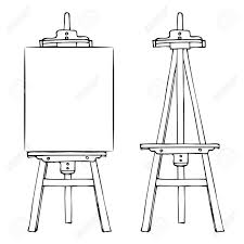 1300x1300 wooden painting easel with blank canvas cartoon black white