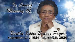 Obituary   Bertha Essie Bonner Pryor   Johnson Services Funerals ...