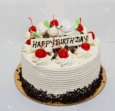 Black Forest Cake With The Words Happy Birthday Stock Photo