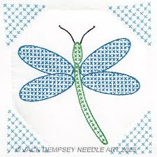 Jack Dempsey Needle Art Dragonfly 9  Quilt Squares - St&ed Cross ... & Dragonfly 9