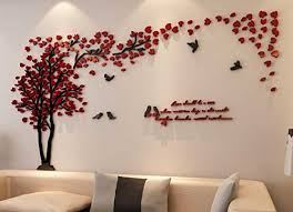 Beautiful Wall Stickers For Living Rooms Red Tree Wall Art Decals Vinyl  Sticker Black Bird Tree ...