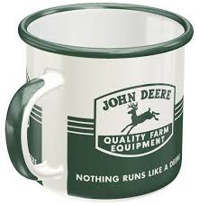 John deere mug coffee cup 150 years black with gold trim mugfrom $18.00 john deere gibson coffee mug cup nothing runs like a deere licensedfrom $12.00 john deere coffee mug cup 11 oz moline illinois tractor green licensed by gibsonfrom $9.97 Enamel Mug John Deere Farm Fiftiesstore Com