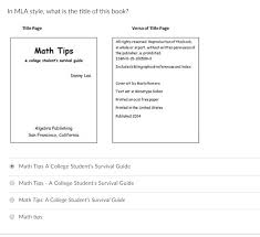 Title Mla Solved In Mla Style What Is The Title Of This Book Titl