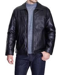 perry ellis portfolio mens solid black genuine lambskin leather jacket coat