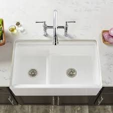 fireclay double basin 33 x 20 double basin farmhouse kitchen sink with divide