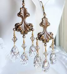 antique gold art nouveau brass chandelier earrings with gold patina swarovski crystals