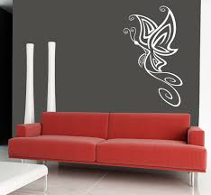 ... Red Sofa Wall Art Decor For Bedroom Nice Living Room Decoration Simple  Butterfly Figure Grey Wallpaper ...