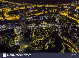 City Lights Video And Photography Dubai Downtown Night Scene With City Lights Top View From