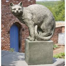 campania international shadow the cat perched cast stone garden statue hayneedle
