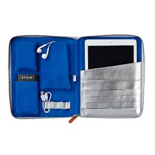 stow personalized world class silver blue leather tech case large0