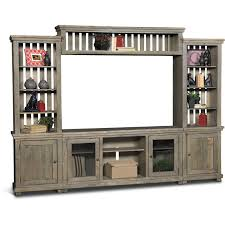 Distressed Gray 4 Piece Rustic Entertainment Center  Willow Rustic Entertainment Center L39