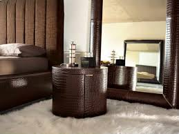 furniture round dark brown leather bedside table on white fur rug gorgeous round bedside
