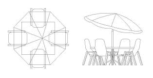free cad symbol patio table and chairs
