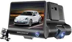 Smiledrive <b>3 Lens</b> Car <b>Dash</b> Camera <b>Dashboard</b> Recorder DVR 4 ...