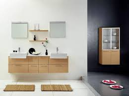stylish modular wooden bathroom vanity. Perfect Vanity Chic Square Sinks And Small Wall Mirrors Idea Feat Shallow Shelf Also  Unique Hanging Bathroom Vanity And Stylish Modular Wooden Bathroom Vanity