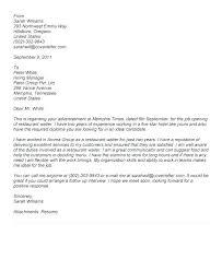 Cover Letter Restaurant Example Waiter Cover Letter Restaurant Resume Cover Letter Head Waiter Jobs