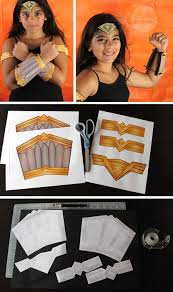 kids wonder woman costume with homemade headband cuffs and armbands diy