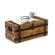 rustic wooden storage trunk coffee table with metal frame for trditional living room idea