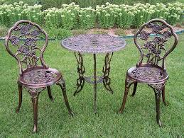 rose cast aluminum 3pc outdoor patio bistro set