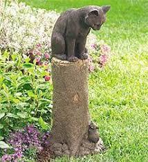 cat garden statue. Weatherproof-hand-finished-bronze-colored-cat-and-mouse-sculpture Plow \u0026 Hearth Cat Garden Statue