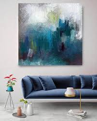 blue abstract paintings art wall decor