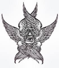 Fototapeta Vševidoucí Boží Oko Hand Drawn Vintage Stylu Okřídlený Anděl