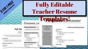 Editable Google Docs Teacher Resume Templates 3 For 1 By Secondary