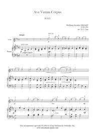 ave verum corpus sheet music mozart ave verum corpus violin sheetmusic2print com