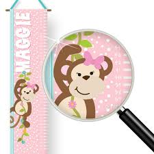 Wooden Growth Chart For Girls Monkey Business Girls Theme Kids Personalized Wall Growth Chart