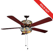 stained glass ceiling fan. 450-688- Tiffany-Style 52\ Stained Glass Ceiling Fan K