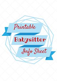 babysitter information sheet printable babysitter information printable