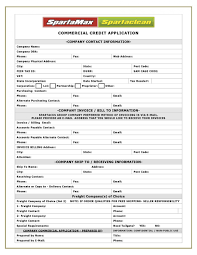 Wholesale Credit Application Business Account Application Form Template To Credit Free
