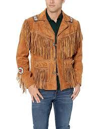 Designer Suede Jacket Scottish Designer Mens Western Suede Leather Brown Fringed Bones Jacket