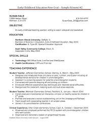Sample Resumes For Early Childhood Teachers Perfect Resume Format
