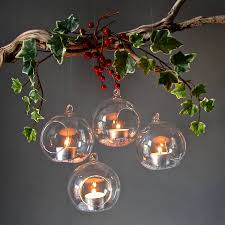 Hanging Glass Tea Light Spheres Set Of Four Noel Hanging Tealight Votives Glass Tea Light